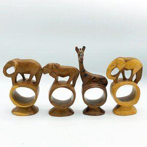 Set of 4 Wood Carved Safari Animal Handcrafted